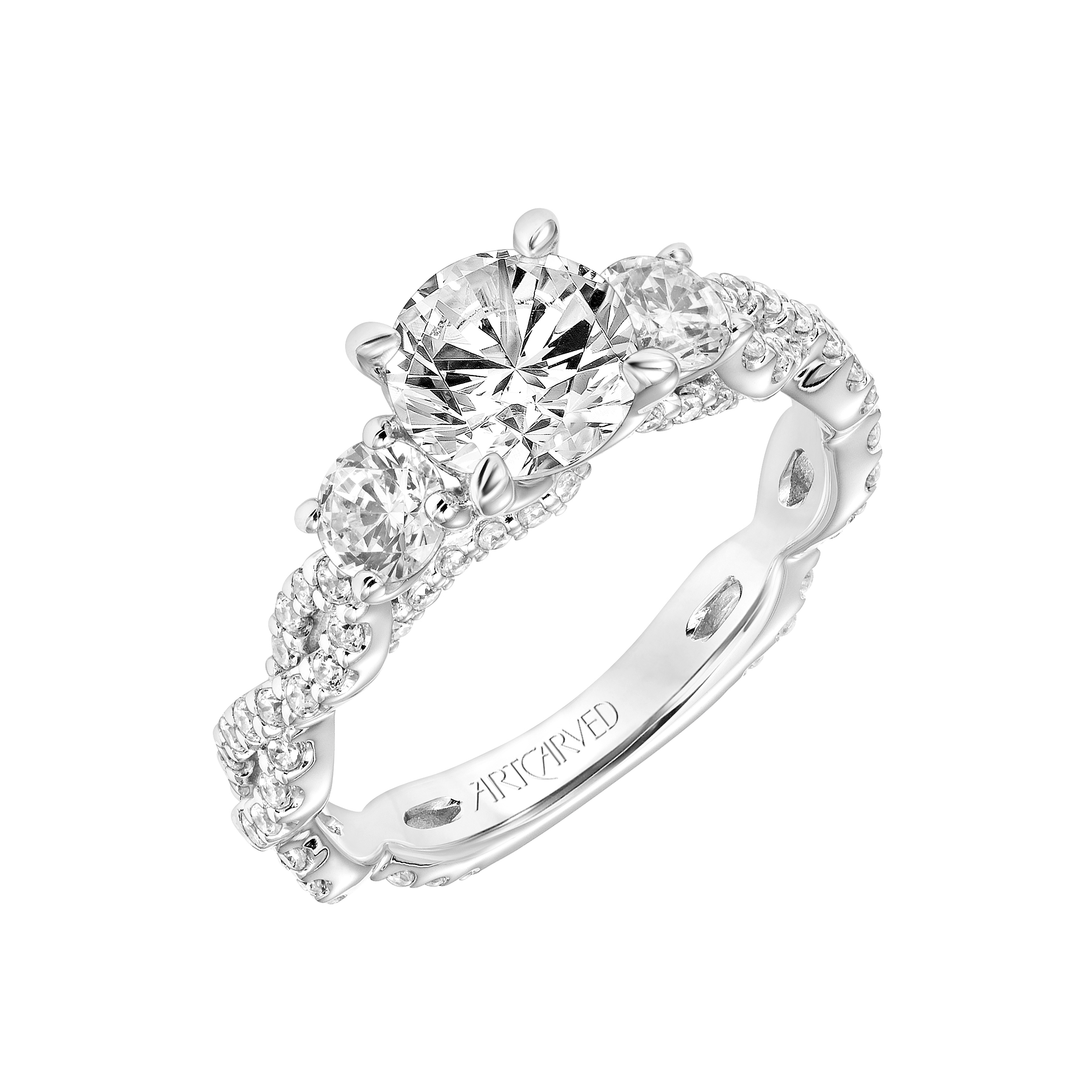 trillions white gold ring mounted in mount rings tw with engagement diamond semi